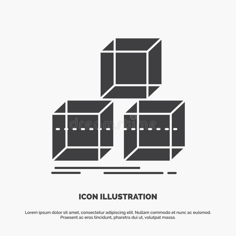 Arrange, design, stack, 3d, box Icon. glyph vector gray symbol for UI and UX, website or mobile application. Vector EPS10 Abstract Template background stock illustration