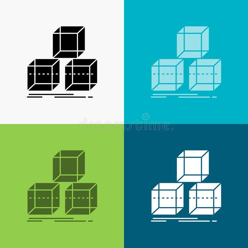 Arrange, design, stack, 3d, box Icon Over Various Background. glyph style design, designed for web and app. Eps 10 vector. Illustration. Vector EPS10 Abstract vector illustration