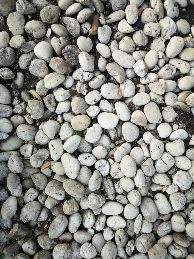 Pebbles gravel arranged in the garden to decorate the ground pattern background texture material royalty free stock images