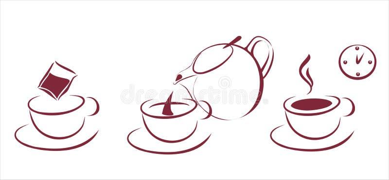 Arrangement de brassage de thé illustration stock