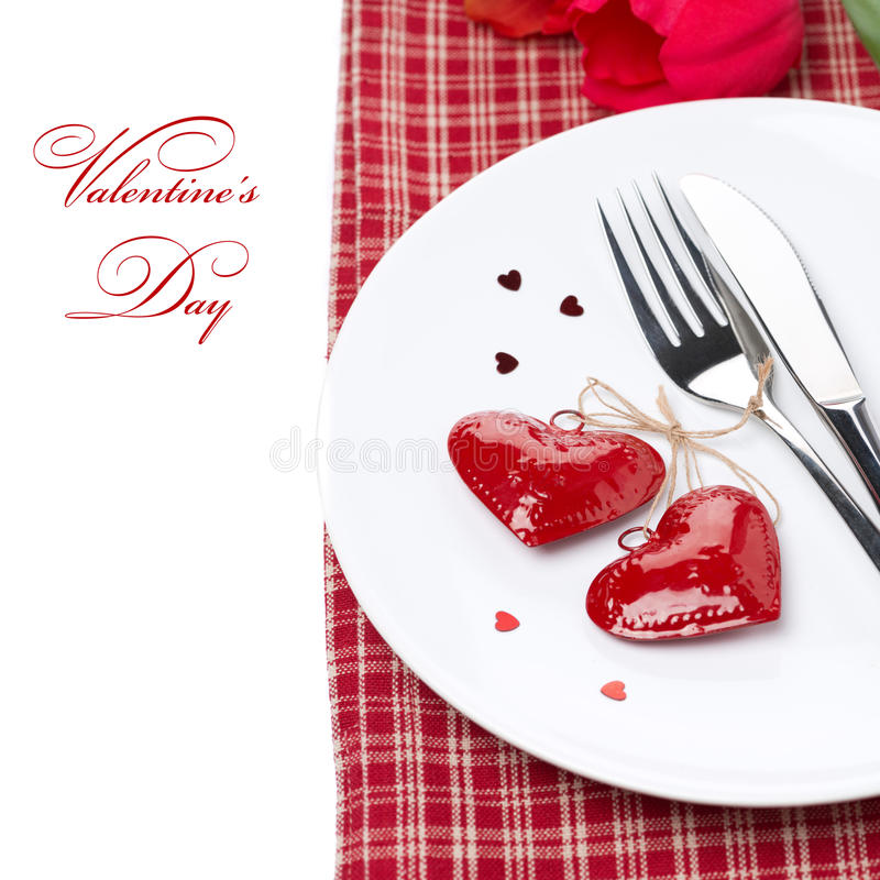 Arrangement de fête de table pour la Saint-Valentin,  photographie stock libre de droits