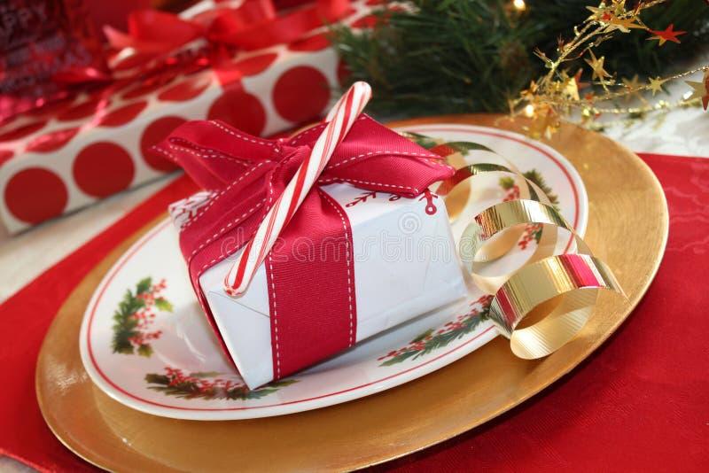 Arrangement de table de Noël images stock