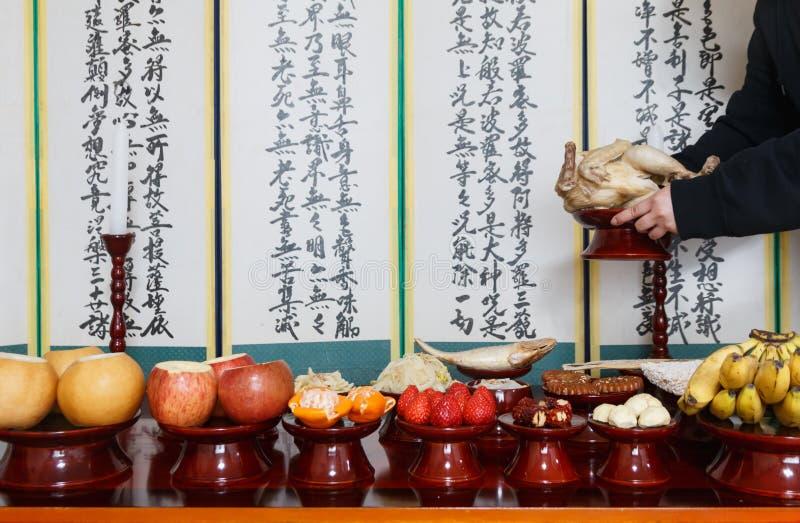 Arrangement de Tableau avec de divers fruits et nourritures pour des vacances traditionnelles coréennes images libres de droits