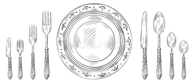 Arrangement de Tableau de vintage Couteau tiré par la main de dîner, plat de croquis et couverts de gravure Vecteur de fourchette illustration libre de droits