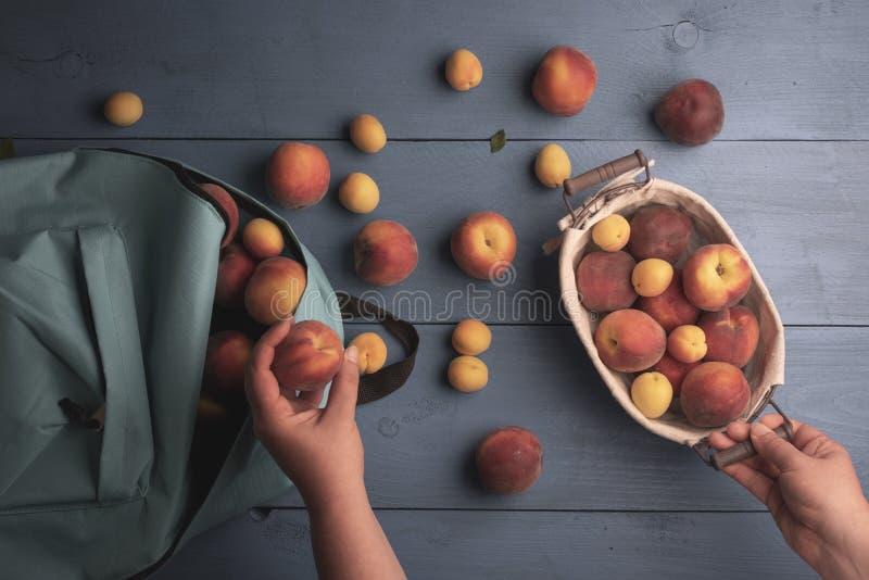 Arrangement des pêches dans un panier Fruits frais au-dessus de vue photographie stock libre de droits