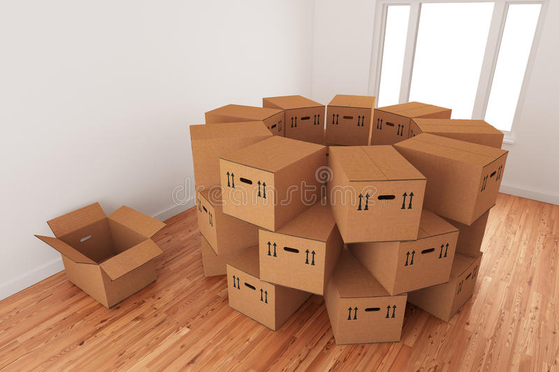 Arrangement Of Empty Packing Boxes royalty free stock photos