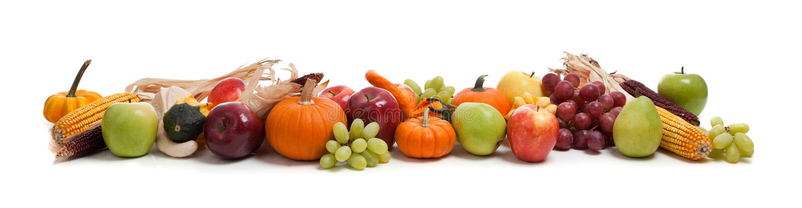 Arrangement of fall fruits and vegetables royalty free stock photography