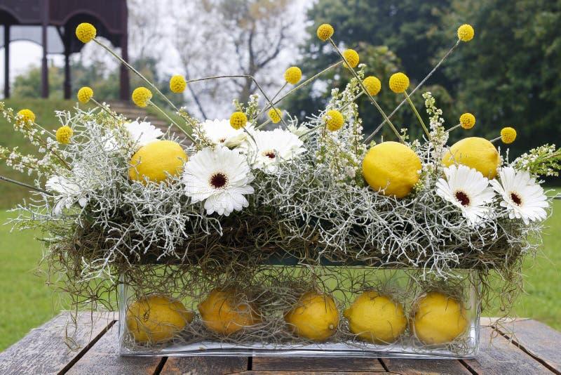 Arrangement floral moderne avec les fleurs et le citron blancs f de gerbera images stock