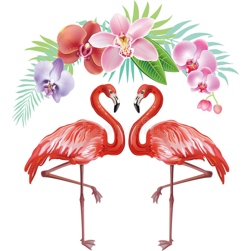 Free Arrangement From Flowers And Flamingoes Stock Photos - 73793363