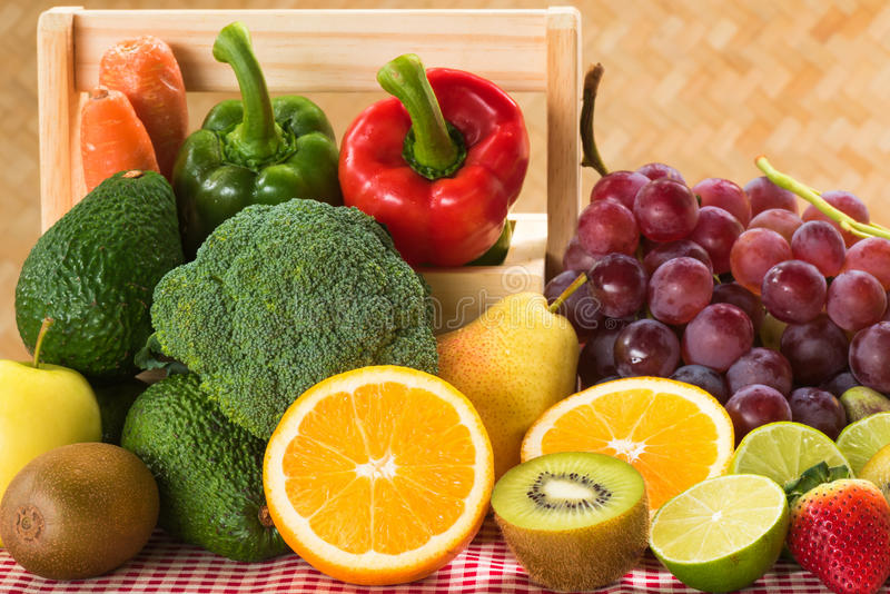 Arrangement nutrition fresh fruits and vegetables stock photography