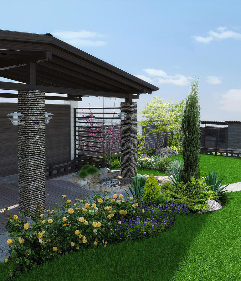 Arrangement patio living space, 3d render. Natural character of the site into the design. Example of patio arrangement vector illustration