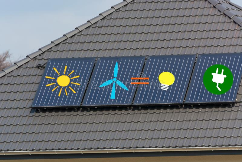 Solar panels in low light royalty free illustration