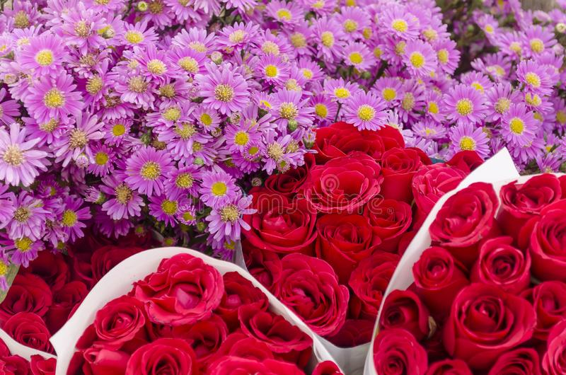 Arrangement of roses in a flower market stal stock photo