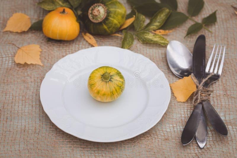 Arrangement saisonnier de table avec de petits potirons et feuilles de jaune et de vert images libres de droits