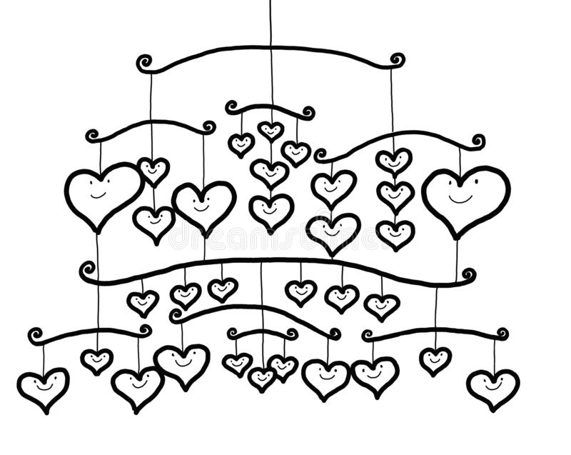 Arrangement of Smiling Hearts Hanging Mobile royalty free illustration