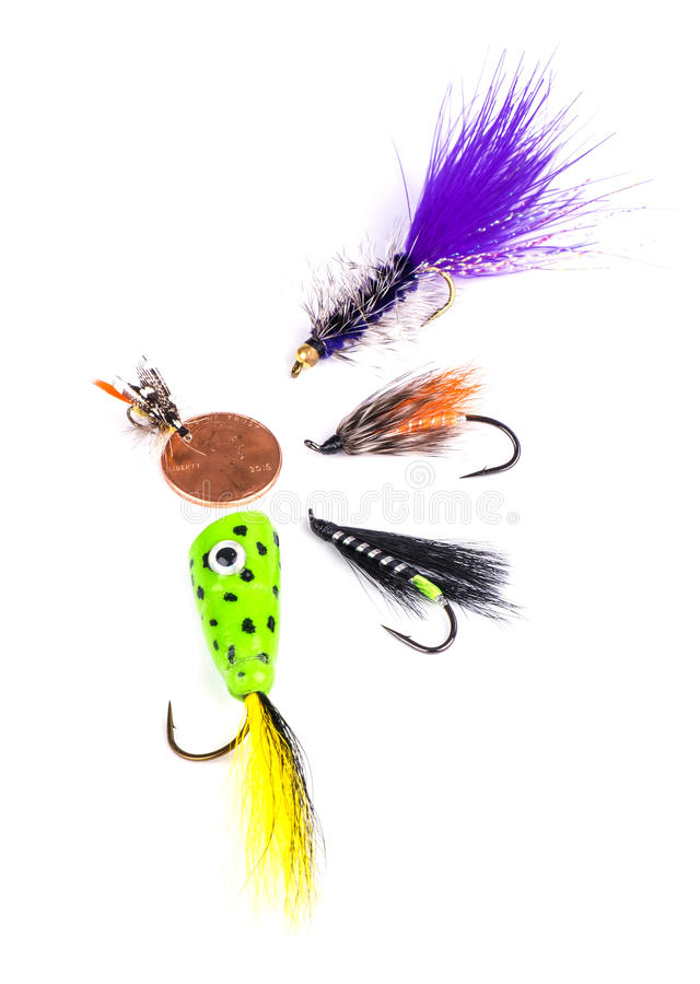 Arrangement of Various Size Fishing Flies stock photo