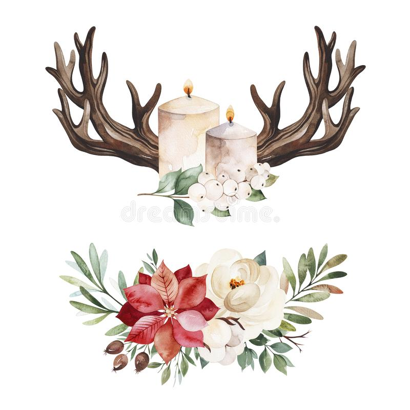 2 lovely winter bouquets with leaves,branches,flowers,berries,holly,poinsettia stock photo