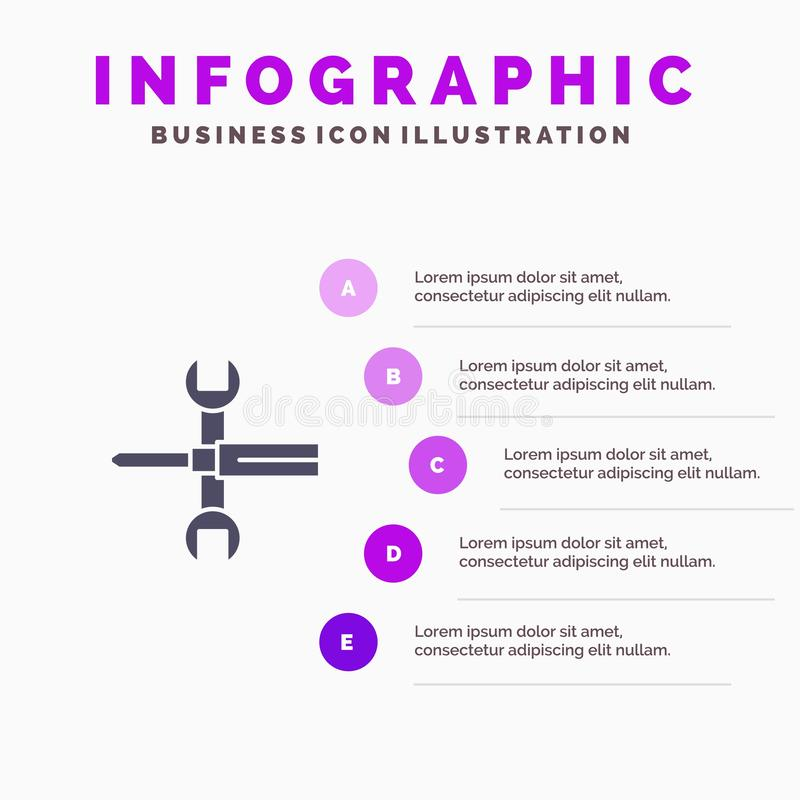 Arrangements, contrôles, tournevis, clé, outils, fond solide de présentation d'étapes d'Infographics 5 d'icône de clé illustration stock