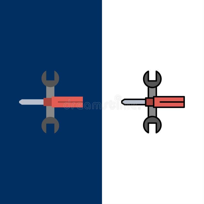 Arrangements, contrôles, tournevis, clé, outils, icônes de clé L'appartement et la ligne icône remplie ont placé le fond bleu de  illustration stock