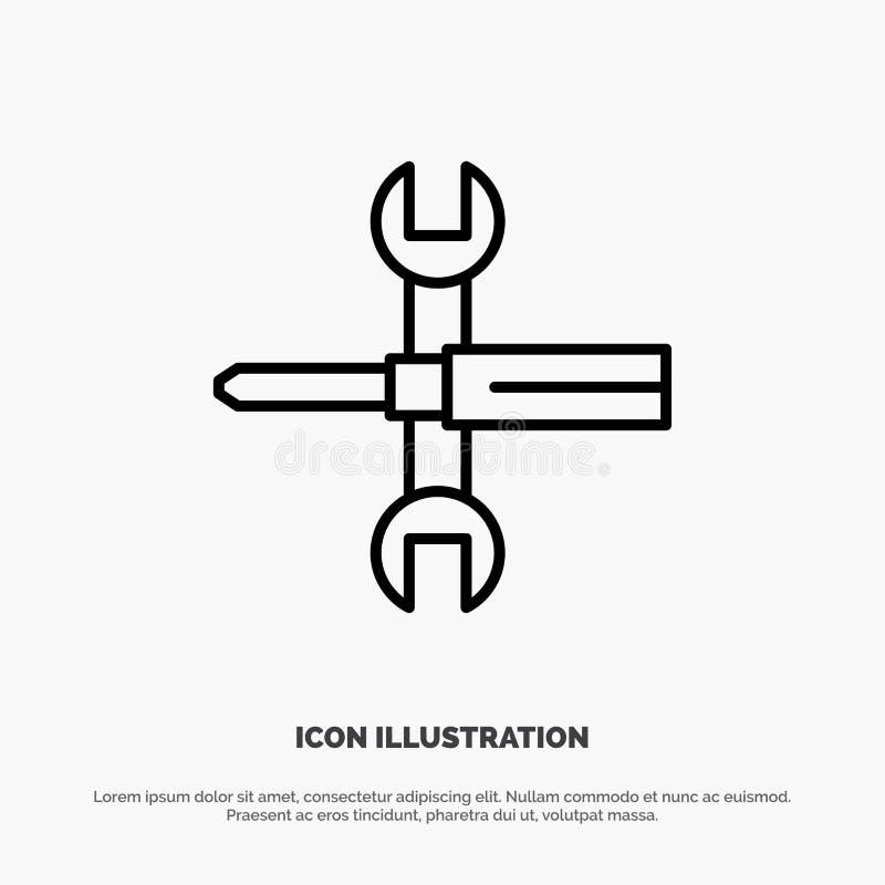 Arrangements, contrôles, tournevis, clé, outils, ligne vecteur de clé d'icône illustration de vecteur