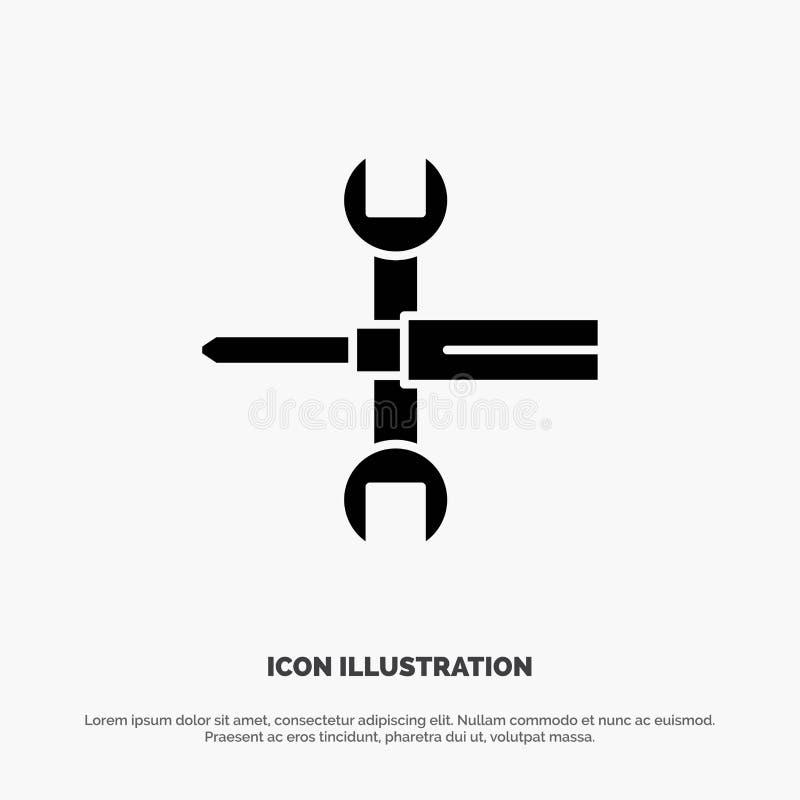 Arrangements, contrôles, tournevis, clé, outils, vecteur solide d'icône de Glyph de clé illustration stock