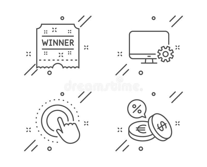 Arrangements de moniteur, billet de gagnant et ensemble d'icônes de main de clic Signe de change  Vecteur illustration de vecteur