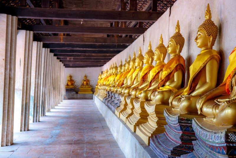 Arrangera i rak linje Buddhastatyer p? Wat Phutthaisawan, Ayuthaya, Thailand arkivfoto