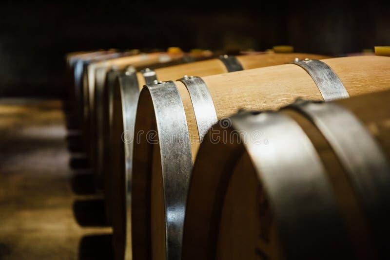 Arrangera i rak linje vinfat i en källare royaltyfri bild
