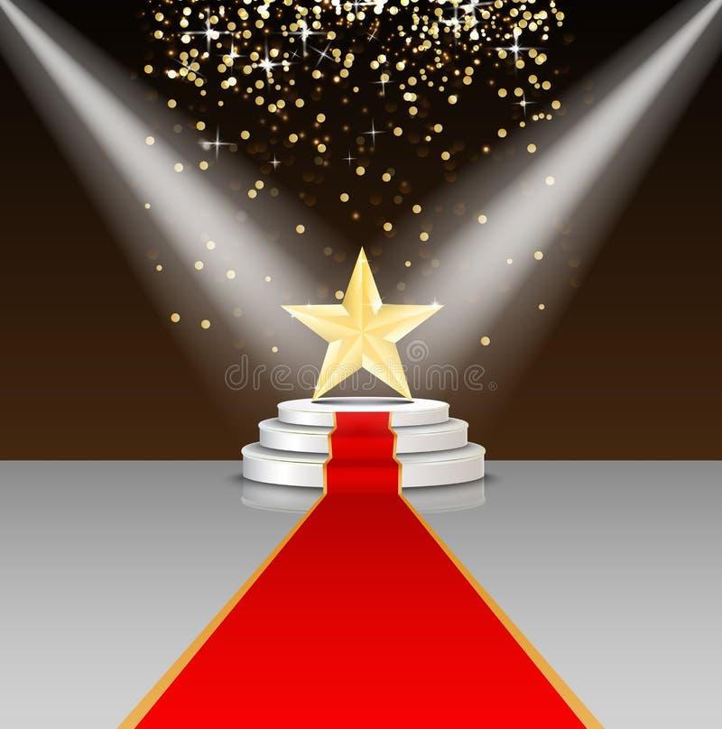 Arrangera podiet med röd matta och stjärnan på brun bakgrund royaltyfri illustrationer