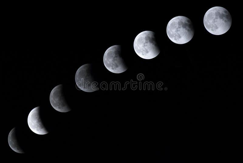 Arrangerar gradvis av en lunar förmörkelse royaltyfri fotografi