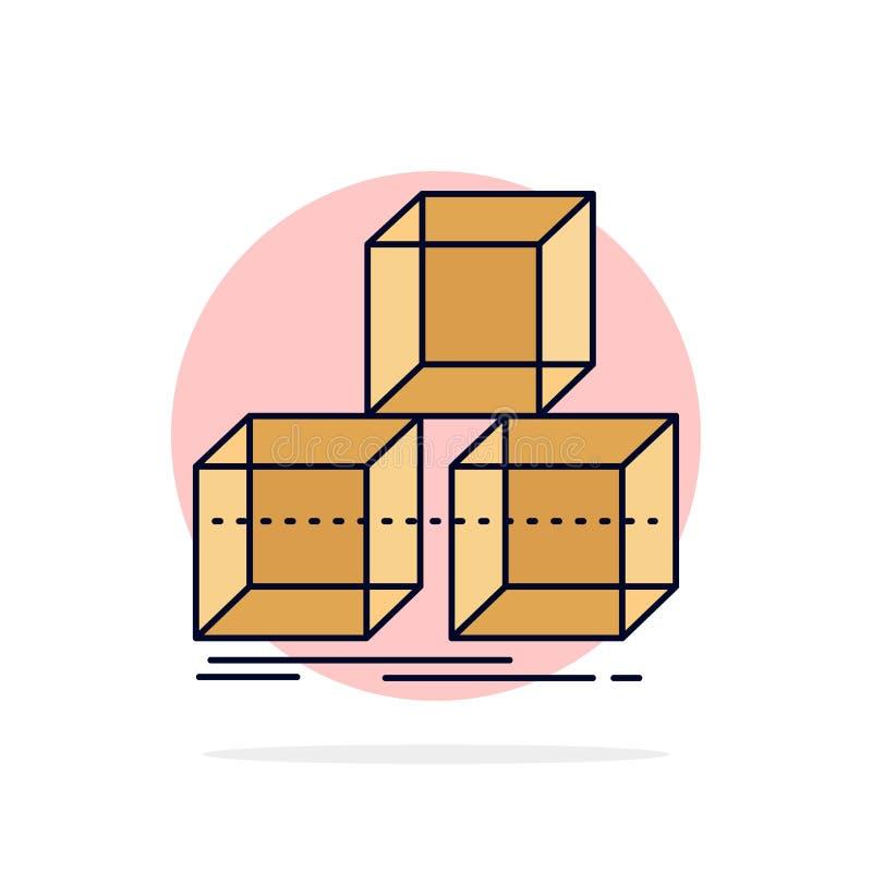Arrangez, concevez, empilez, 3d, vecteur plat d'icône de couleur de boîte illustration de vecteur