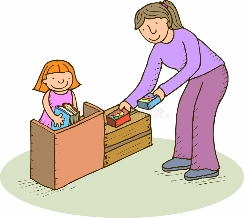 Arranging. Mother or teacher with a girl arranging a place vector illustration