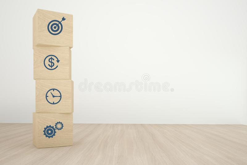 Arranging wood cube block stacking with icon business strategy and action plan on wood background. Minimal concept.  royalty free stock photography