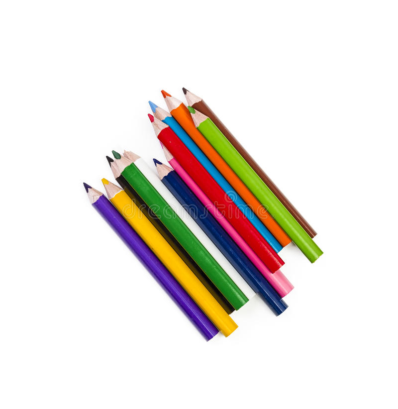 Arrangment av färgrika blyertspennor på vit bakgrund royaltyfri bild