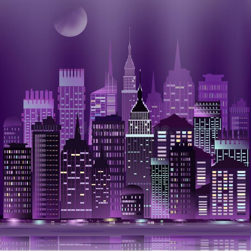 Arranha-céus abstratos da arquitetura da cidade da noite do vetor com reflexão ilustração stock