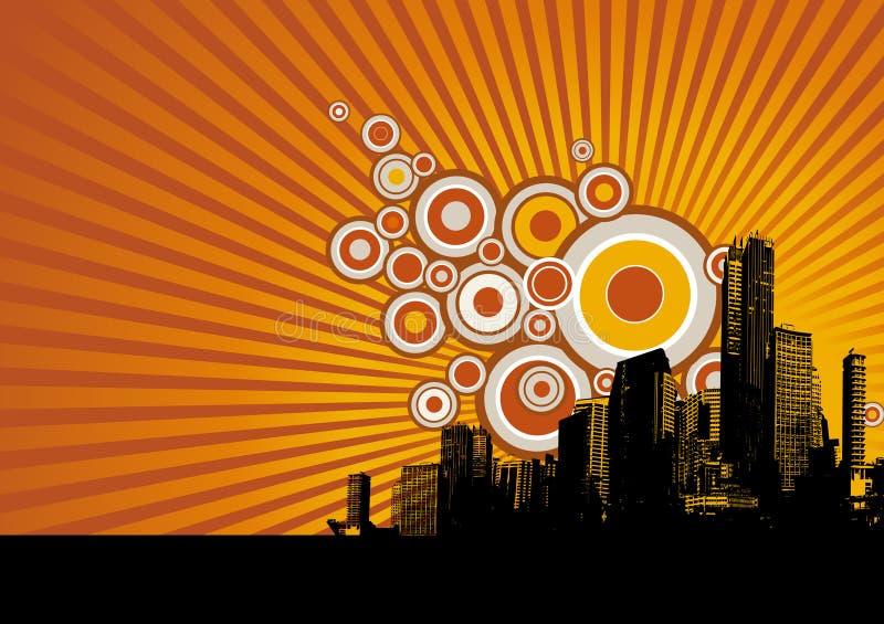 Arranha-céus com círculos. Vetor ilustração do vetor