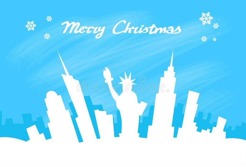 Arranha-céus da cidade da skyline de New York, Natal ilustração do vetor