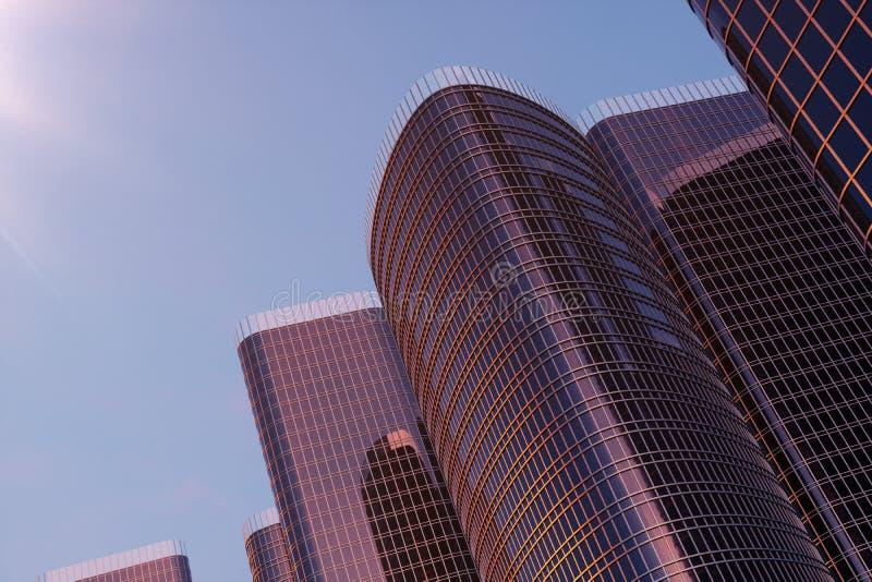 arranha-céus da ilustração 3D de uma opinião de baixo ângulo Construções altas de vidro da arquitetura Arranha-céus em um distrit imagem de stock royalty free