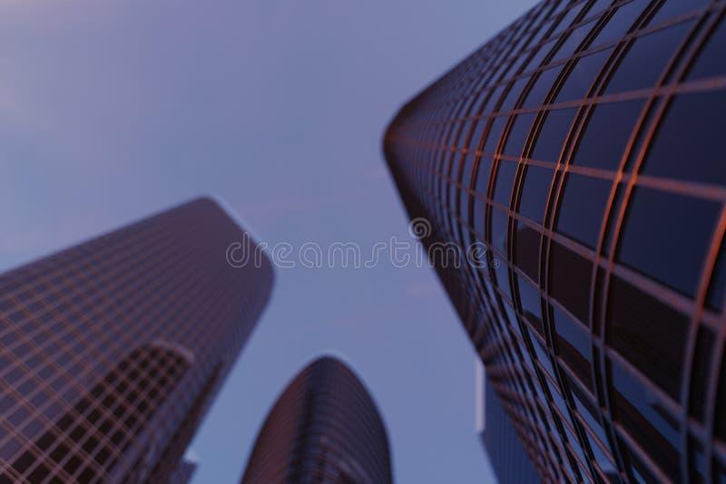 arranha-céus da ilustração 3D de uma opinião de baixo ângulo Construções altas de vidro da arquitetura Arranha-céus em um distrit imagens de stock royalty free