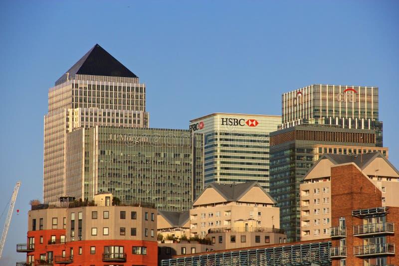 Arranha-céus de Londres Canary Wharf fotografia de stock