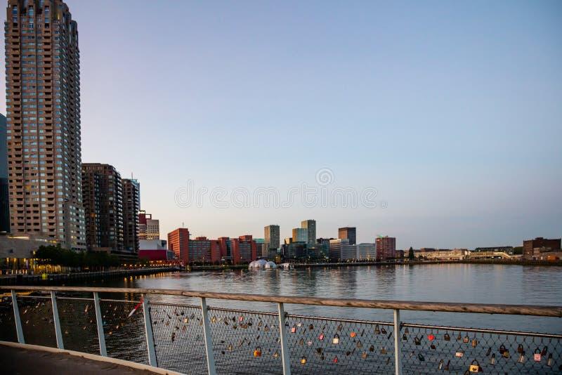 Arranha-céus de Países Baixos da cidade de Rotterdam, reflexões na água, tempo do por do sol, céu claro azul fotos de stock