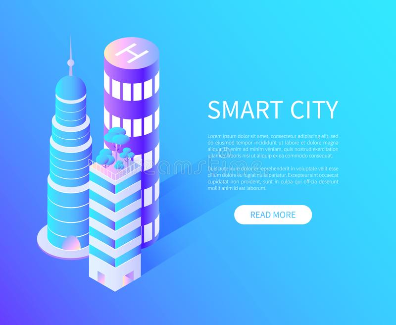Arranha-céus de Smart City com aterrissagem do helicóptero ilustração do vetor