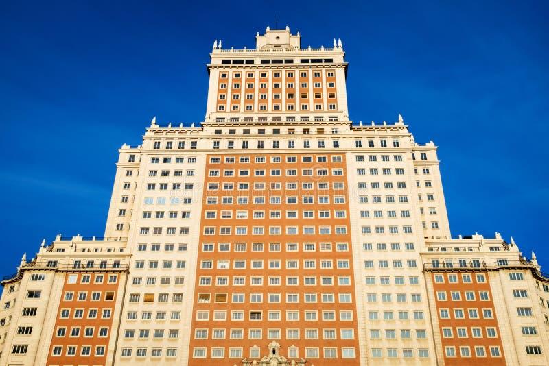 Arranha-céus do art deco de Edificio España em Plaza de España, Madri fotografia de stock royalty free