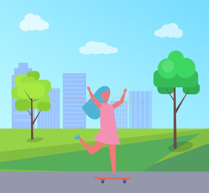 Arranha-céus e árvores Skateboarding do vetor da menina ilustração do vetor