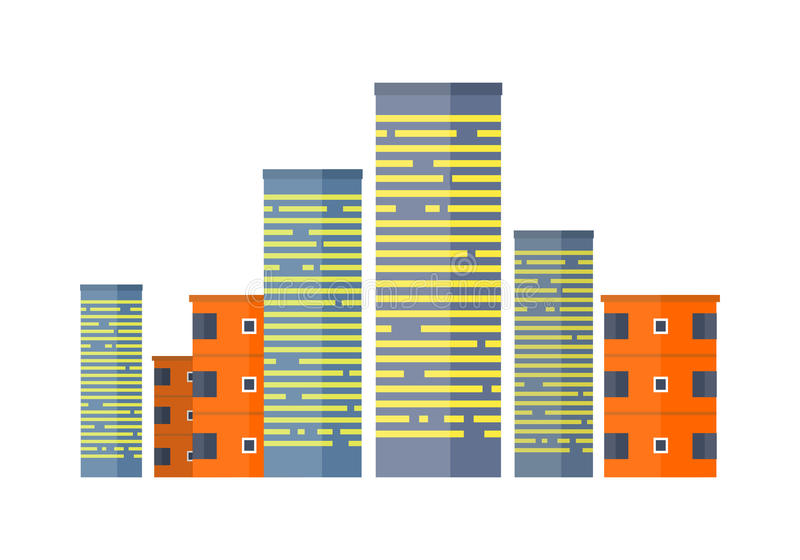 Arranha-céus e construções Casa Multistorey asiática ilustração stock
