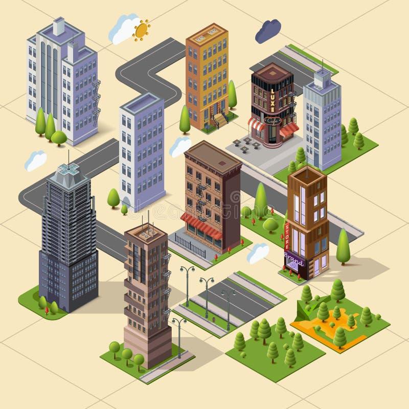 Arranha-céus e prédios de escritórios isométricos ilustração do vetor