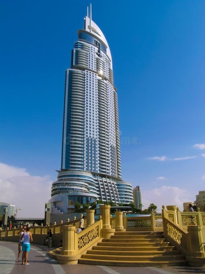 Arranha-céus na baixa Burj Dubai do endereço de Dubai imagens de stock
