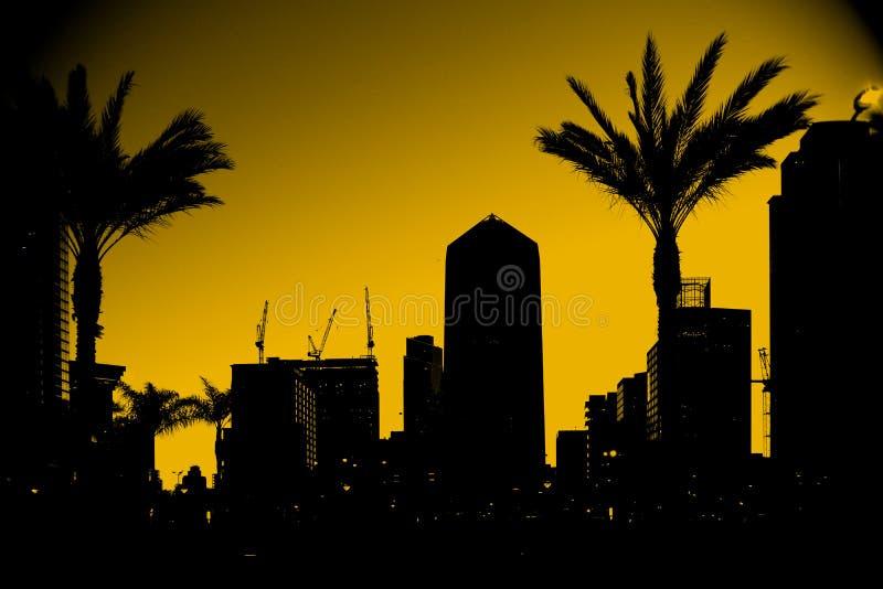 Arranha-céus San Diego do esboço fotografia de stock royalty free