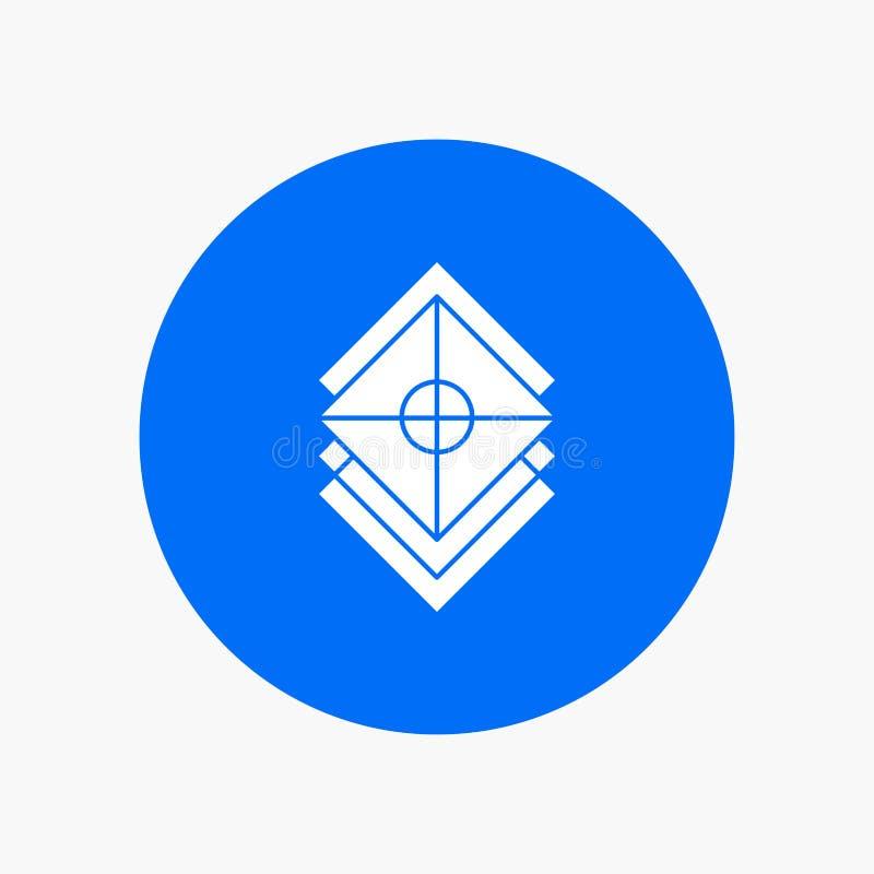 Arranje, projete, camadas, pilha, ícone branco do Glyph da camada no círculo Ilustra??o do bot?o do vetor ilustração royalty free