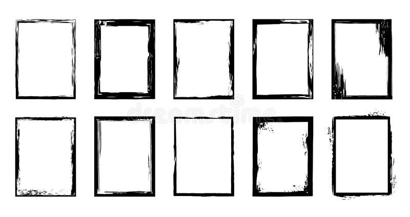 Arranjo Borda do traçado do pincel de tinta, pincel artístico e conjunto de elementos isolados do vetor de desenho do quadro de t ilustração stock